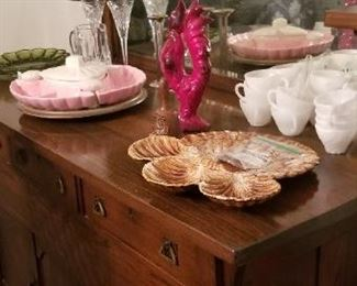 Milk glass, Vintage Calif pottery items and Waterford crystal