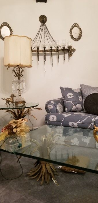 """Vintage Mid-Century Modern Sheaf Wheat Gilt Metal & Glass """"Coco Channel"""" Style End Tables & Coffee Table"""