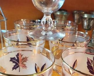 clear/frosted/gold mid century stemware