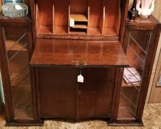 antique drop down secretary with side openings