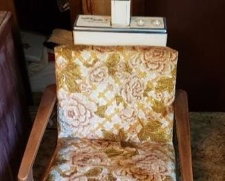 vintage floral salon chair, hair dryer with cover