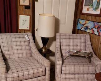 Grey plaid  mid-century chairs