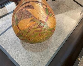 carved gourd. signed