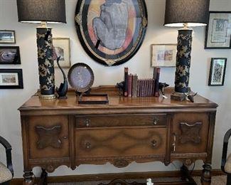 2 matching wallpaper roll lamps, antique buffet