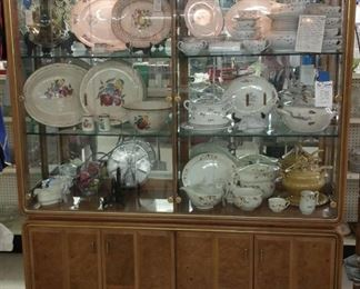 Beautiful china hutch with mirrors all around and thick glass shelves. $295 reg price minus sale %.  No delivery or help loading on this one. It is extremely heavy. 2 pieces.