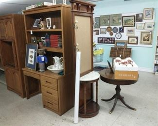 Hall tree does NOT have mirror.  Desk and hutch are 2 PCs. Antique table is $99 reg price - % and has a drawer!