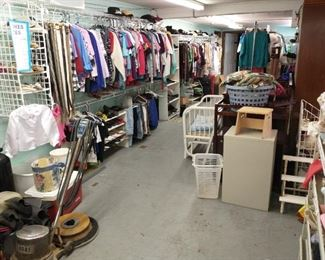 Floor Buffer, Clothes (most $1 per pc. reg price), shoes $2, belts $1, ties $1, Hats $2, scarves $.50, crib, cradle,file cabinet.
