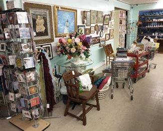 CDs, solid oak chair, artwork and more! Beautiful antique frame and picture.....first on left - reg price $199.00 - % off.  Plus carts of things going out!!!