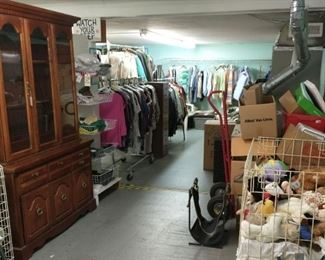 China hutch (2pcs), stuffed animals, hand truck, clothes and linens!