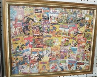 Very unique framed puzzle of vintage comic books!!!