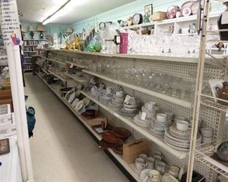 Lots of dishes, glassware, silverplate and vases!!