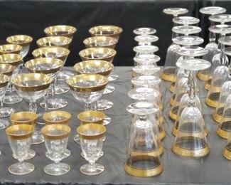 46 Gold Trim Glassware 44 Pieces