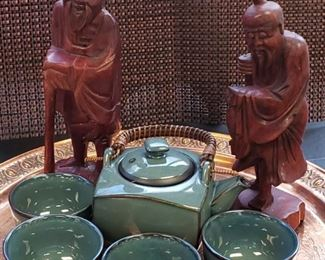 Asian Carvings and Tea Set
