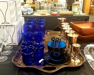 Blue Glassware, Blue Black Coffee Cup and Silver Plate Wine Goblets
