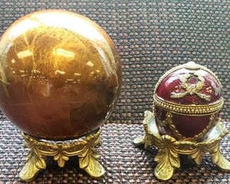 Bronze Color Decor Ball and Faberge Style Egg