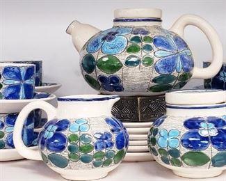 Eduardo Vega Peacock Patter Ceramic Tea Set Cuenca Eccuador 20 Piece Set