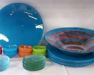 Festive Color Glass Plates, Bowls, Saucers