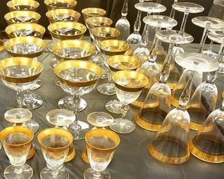 Gold Rim and Footer Glassware