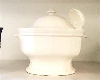 Gold Tone Tea Pots and Soup Serving Dish