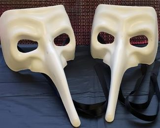 White Long Nose Venetian Mask