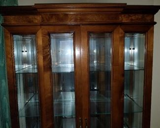 detailed, lighted curio cabinet, detail
