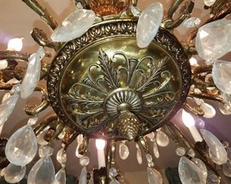 dining room large chandelier, metal and crystal