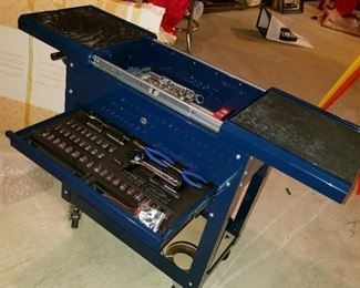 Companion tool chest/cart with built-in full, tool trays