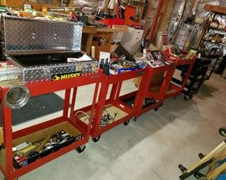 5 tool carts, all loaded with tools, lots never used