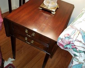 pair of Henkel Harris end tables, with drop sides