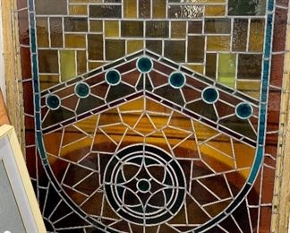 """Stained glass window 60"""" tall x 55 1/2"""" wide x 1 3/4"""" deep 20th century (Local pick up only!)"""