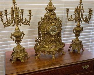 Antique Ornate Figural German Imperial Mantle Clock and Candelabras - 3 Piece Garniture Set