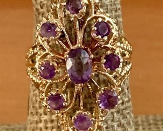 amethyst and gold cocktail ring STUNNING RING 20% OFF TODAY