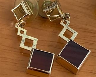 large Garnet and 14k gold dangle earrings BEAUTIFUL AND ON SALE!