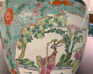 """Porcelain Famille Rose Tall Melon Jar 12"""" with certificate of identity that certifies this piece is over 100 years old."""