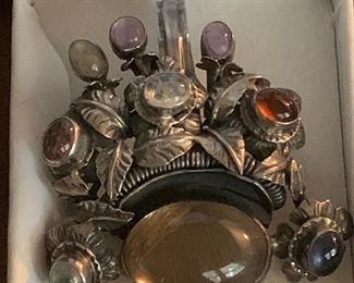 multi gemstone large sterling silver pendant