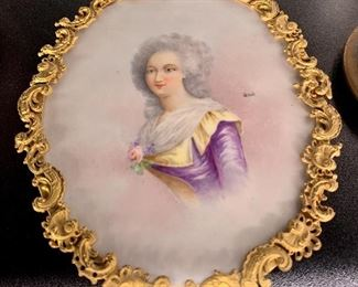 Antique porcelain signed Lady painting with gilt frame
