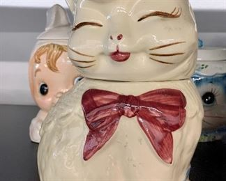 Vintage Shawnee Pottery Puss N Boots Cat Cookie Jar Yellow Bird Pink Bow