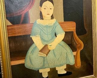 American Folk Art:   (19th century) oil on canvas unsigned reproduction of William Mathew Prior girl seated on bench