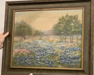 """Nannie Carver Huddle , painter and sculpture one of the first artists to pint bluebonnets in Texas( 1860-1951) Bluebonnets oil on canvas 22"""" x 25"""" ( dated June 1985 when secondary owner purchased this piece)"""