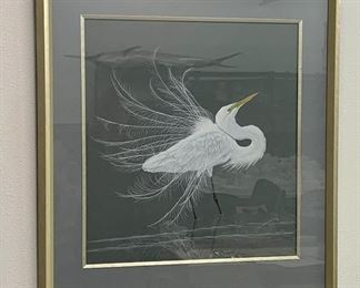 Christi Mathews  (born 1946) title Ethereal Egret (dated 2006) dimensions: 24x22  artists biography can been seen at christimathews.com