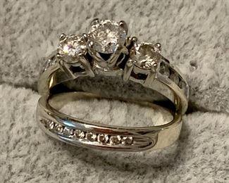 Wedding ring set white gold 1ctw diamonds
