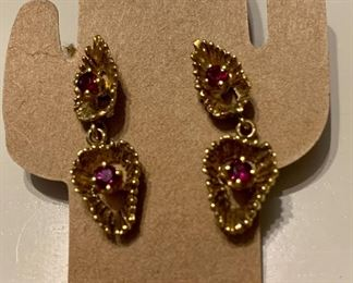 Ruby and 14k gold earrings