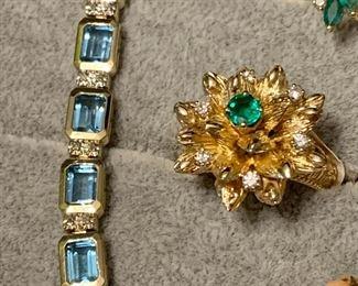 14K GOLD Topaz diamond bracelet
