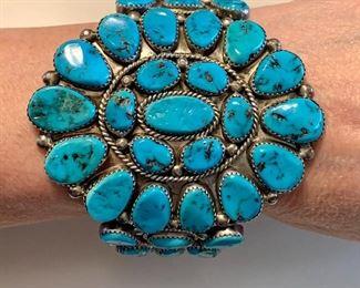 Massive Roanhorse turquoise cluster bracelet signed