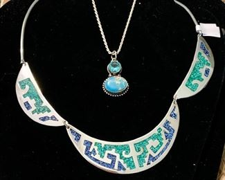 inlaid silver collar necklace