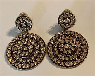 Oscar de la Renta vintage Runway style earrings in rose gold stones