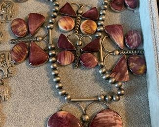 purple Spiney oyster necklace and earrings