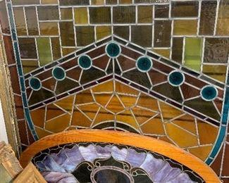 "Oval Art Nouveau stained glass window, 1890-1900    48"" x 24"""