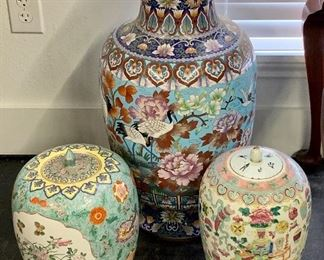 """Left Lidded Famile Rose Vase decorated with cartouche paintings and landscape 11"""" tall 20th century"""