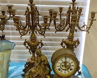 Ansonia Opera Figure Mantel Clock Bronze paitna on Spelter. Black enamel base. Porcelain dial 1882  antique bronze candelabra set 18th century